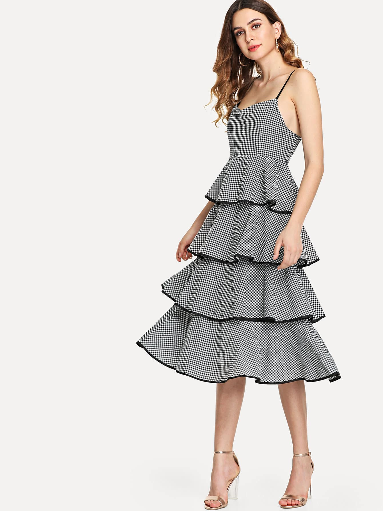 Tiered Checked Cami Dress leaves print backless tiered layer cami dress
