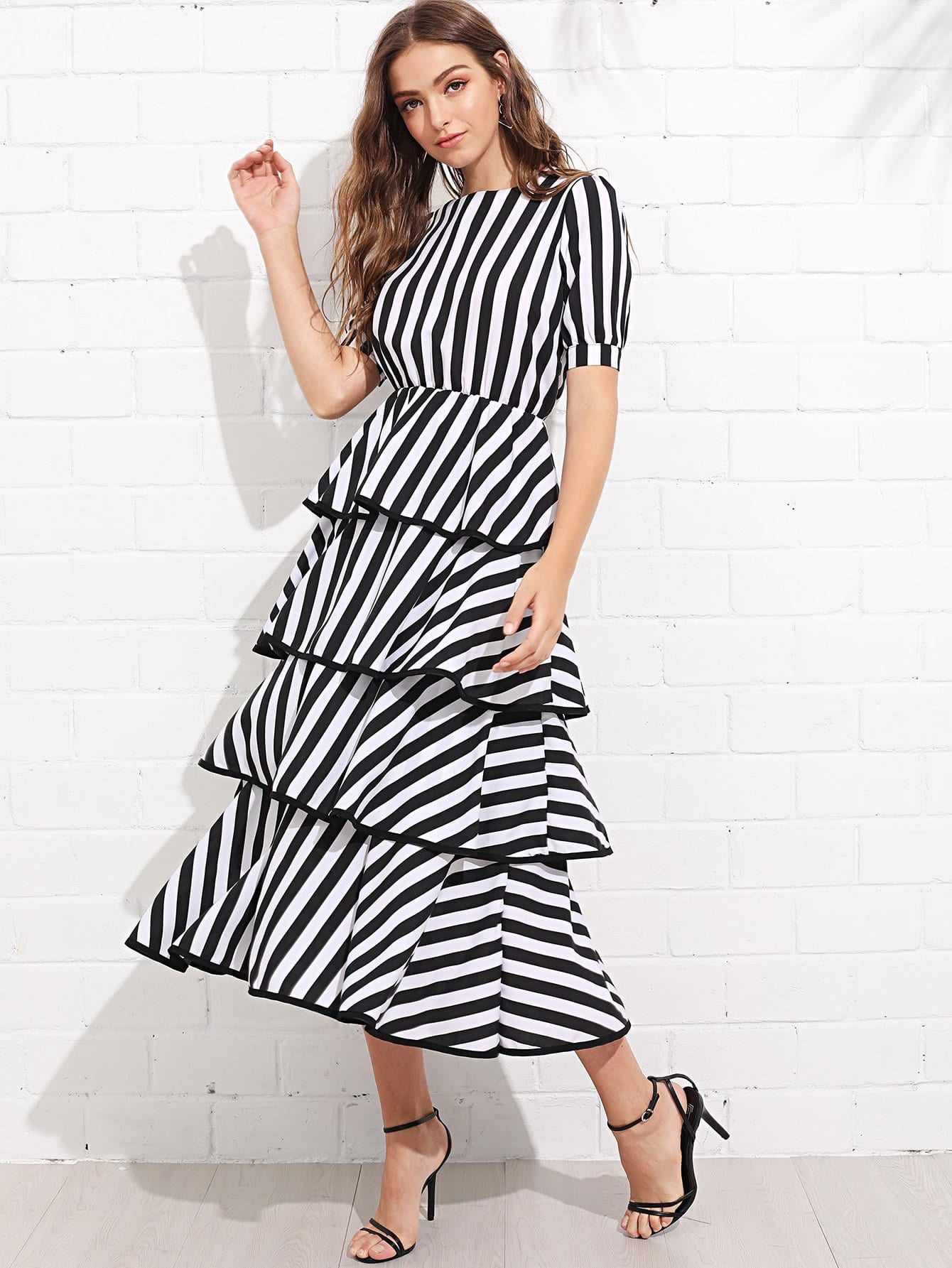 Striped Tiered Dress lace neck tiered striped dress