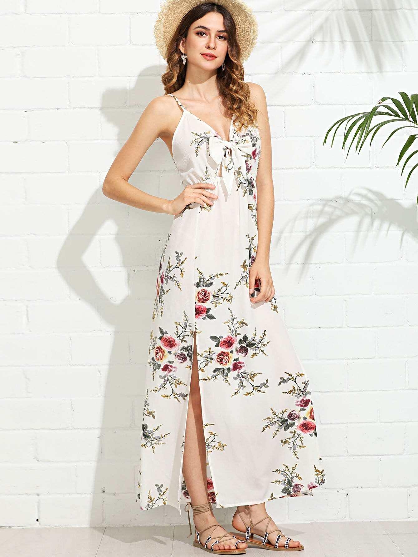 Knot Front Split Side Cami Dress solid split hem cami dress