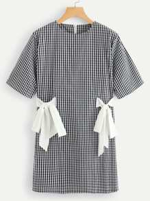 Contrast Knot Checked Dress