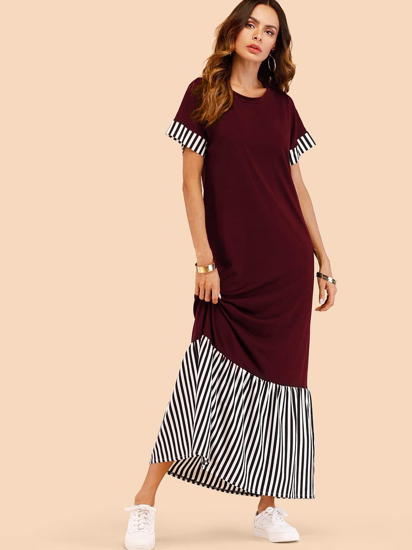 Striped Panel Ruffle Hem Tee Dress ruffle strap and hem striped dress