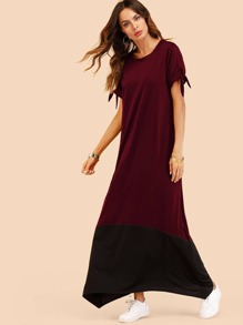 Asymmetrical Hem Color Block Dress