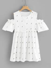 Open Shoulder Printed Dress