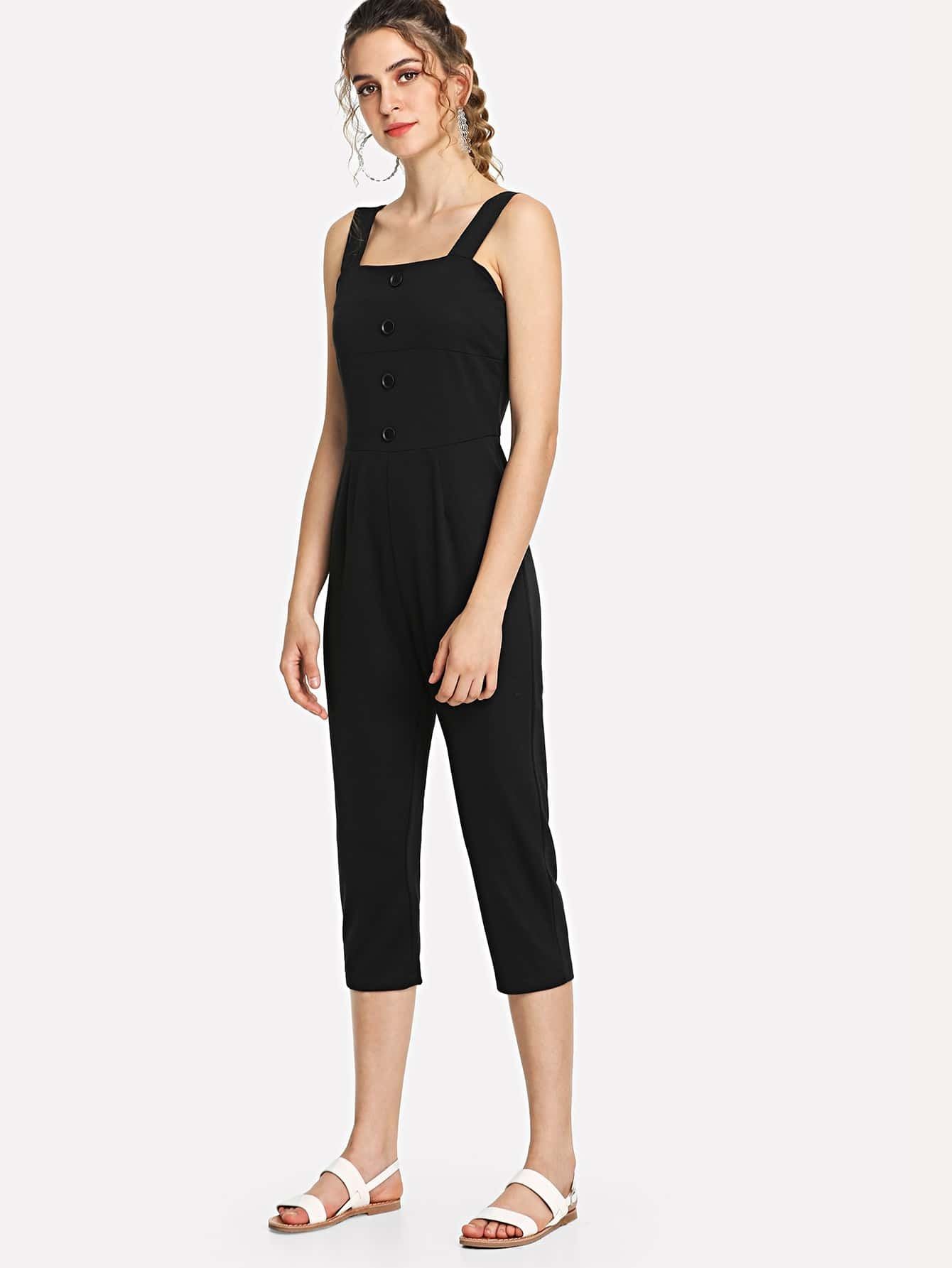 Single Breasted Cami Jumpsuit single breasted cami romper