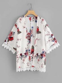 Crochet Trim Floral Print Kimono
