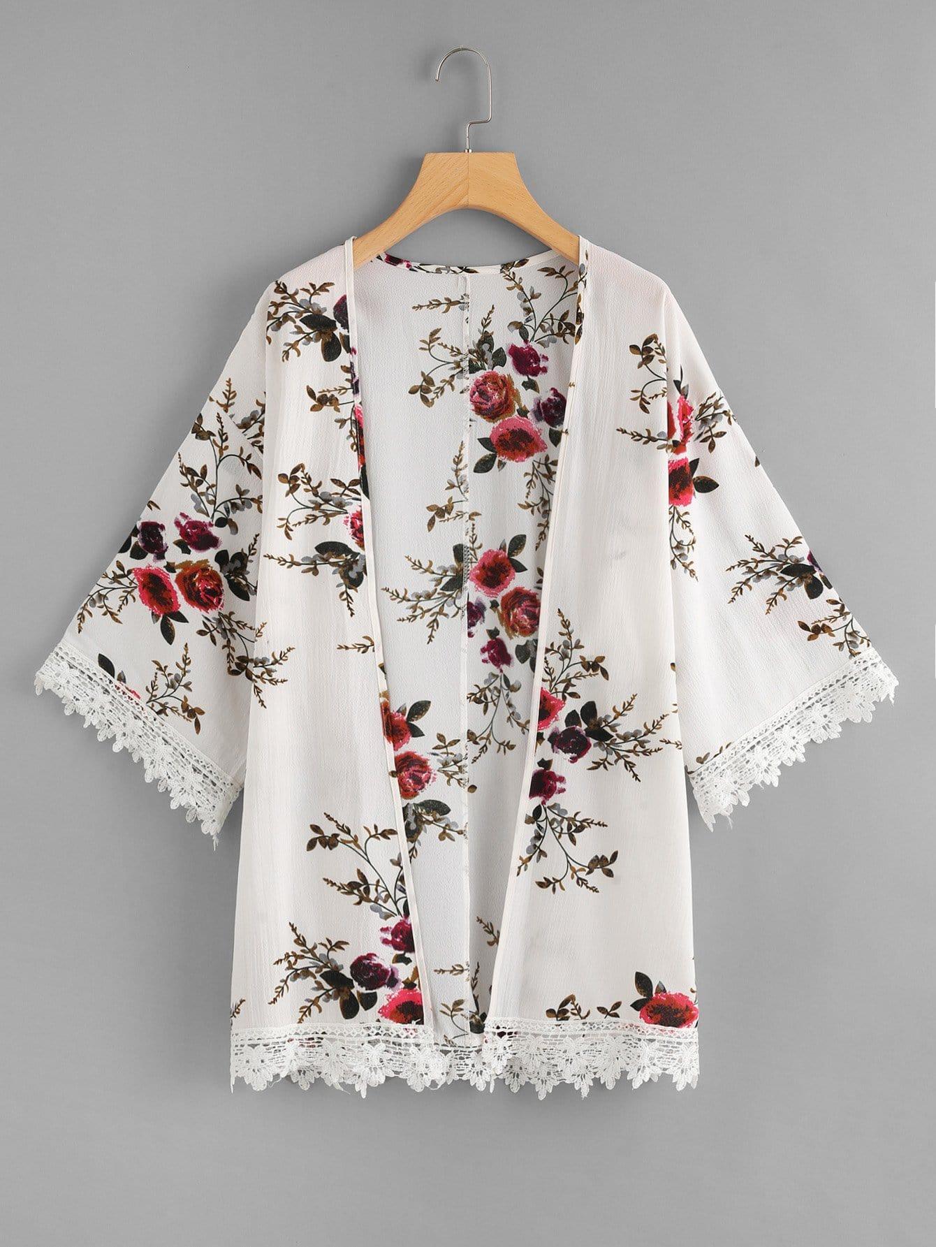 Crochet Trim Floral Print Kimono crochet trim sheer lace kimono