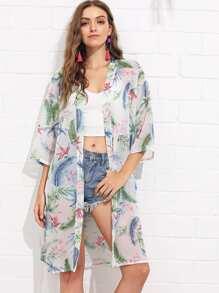 Drop Shoulder Printed Kimono