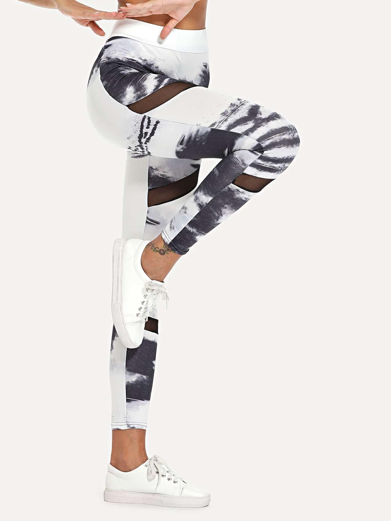 Sheer Mesh Panel Tie Dye Leggings ink pattern tie dye yoga leggings
