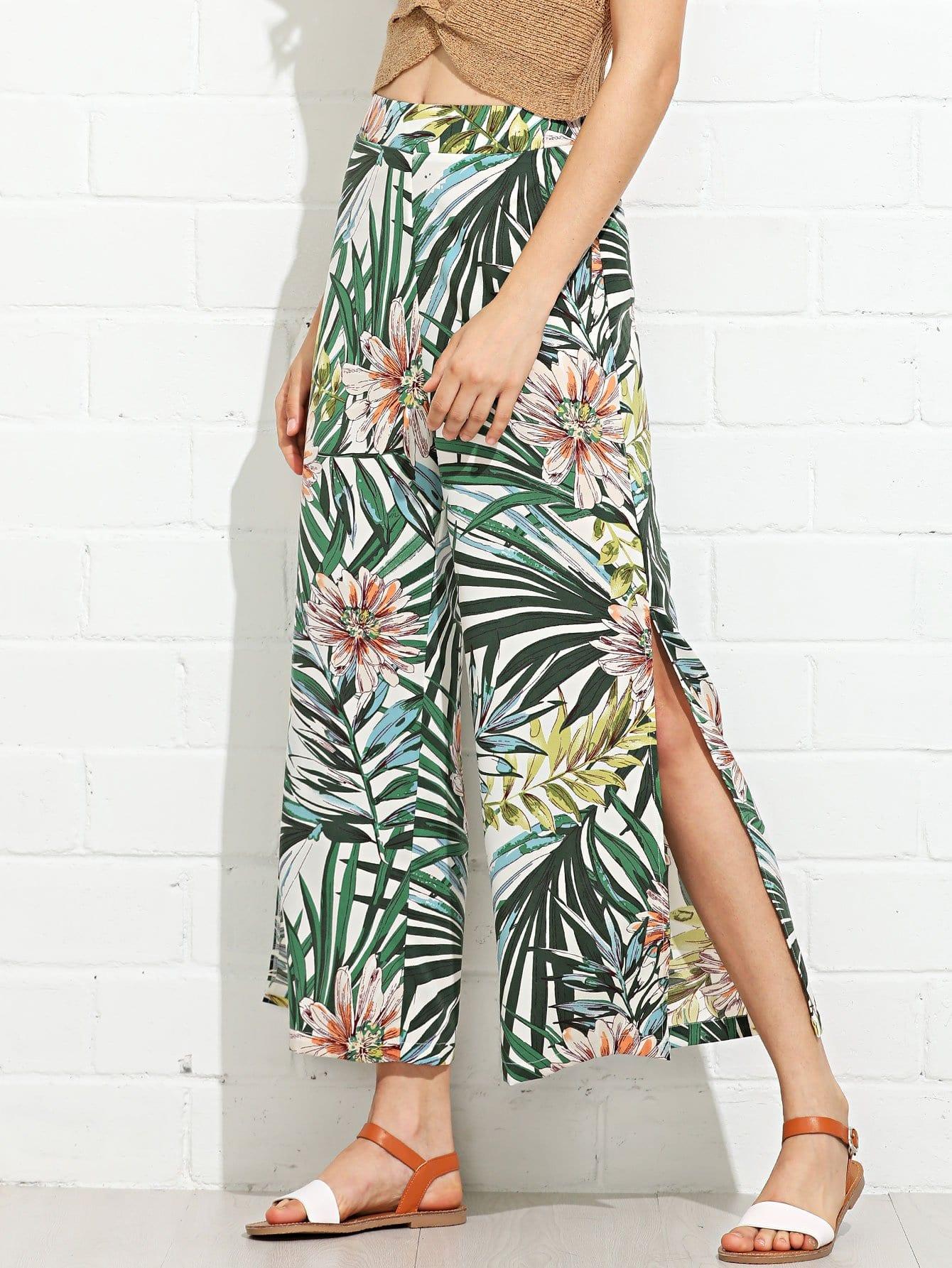 Floral Print Split Side Wide Leg Pants floral print split side dress