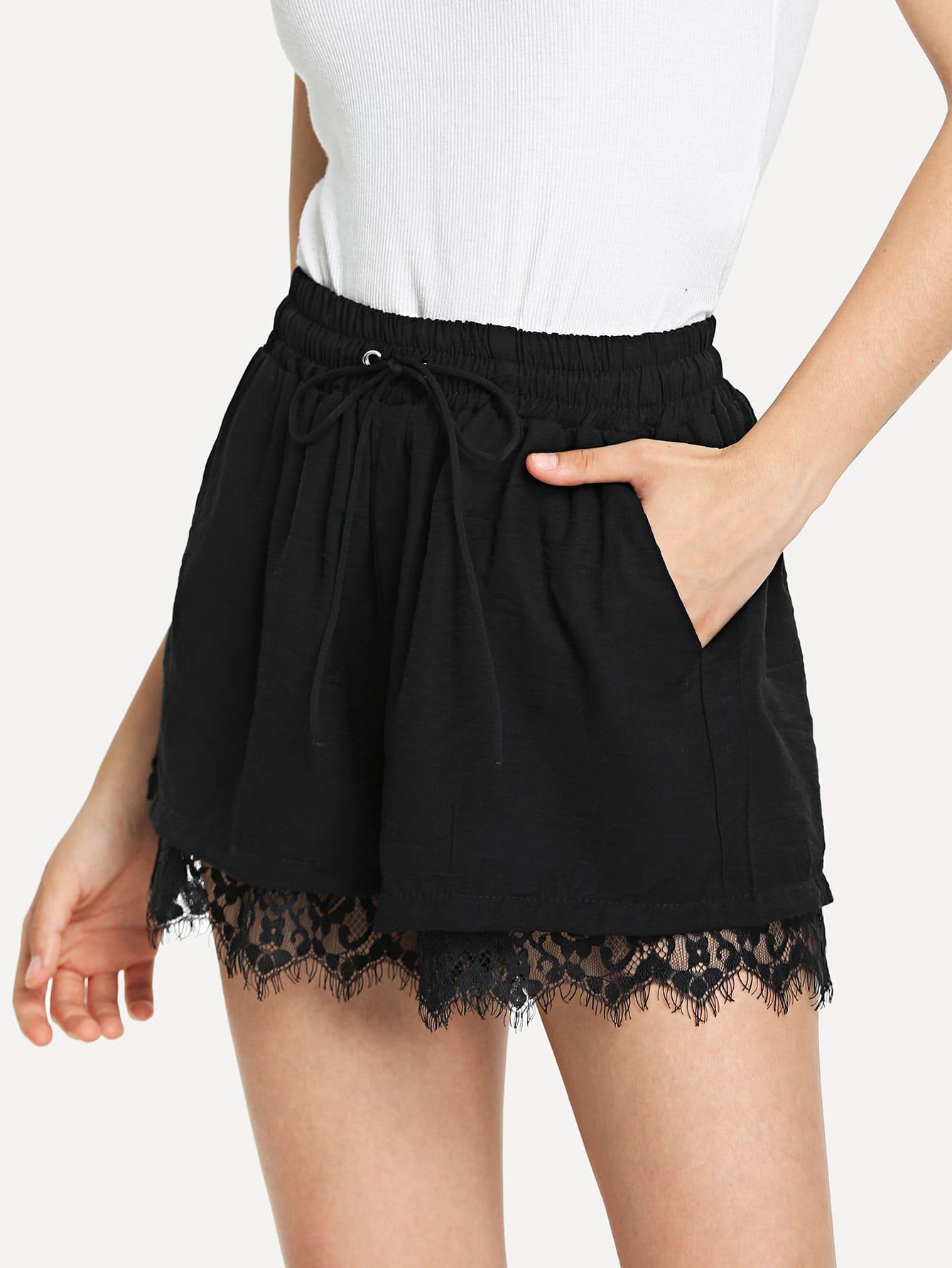 H M - Choose Your Region Black lace shorts fashion