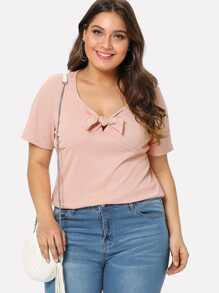 Knot Front Cut Out Ribbed Tee SHEIN