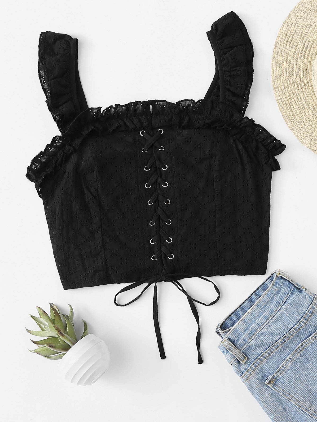 Lace Up Front Ruffle Crop Top blue off the shoulder lace up front denim crop top