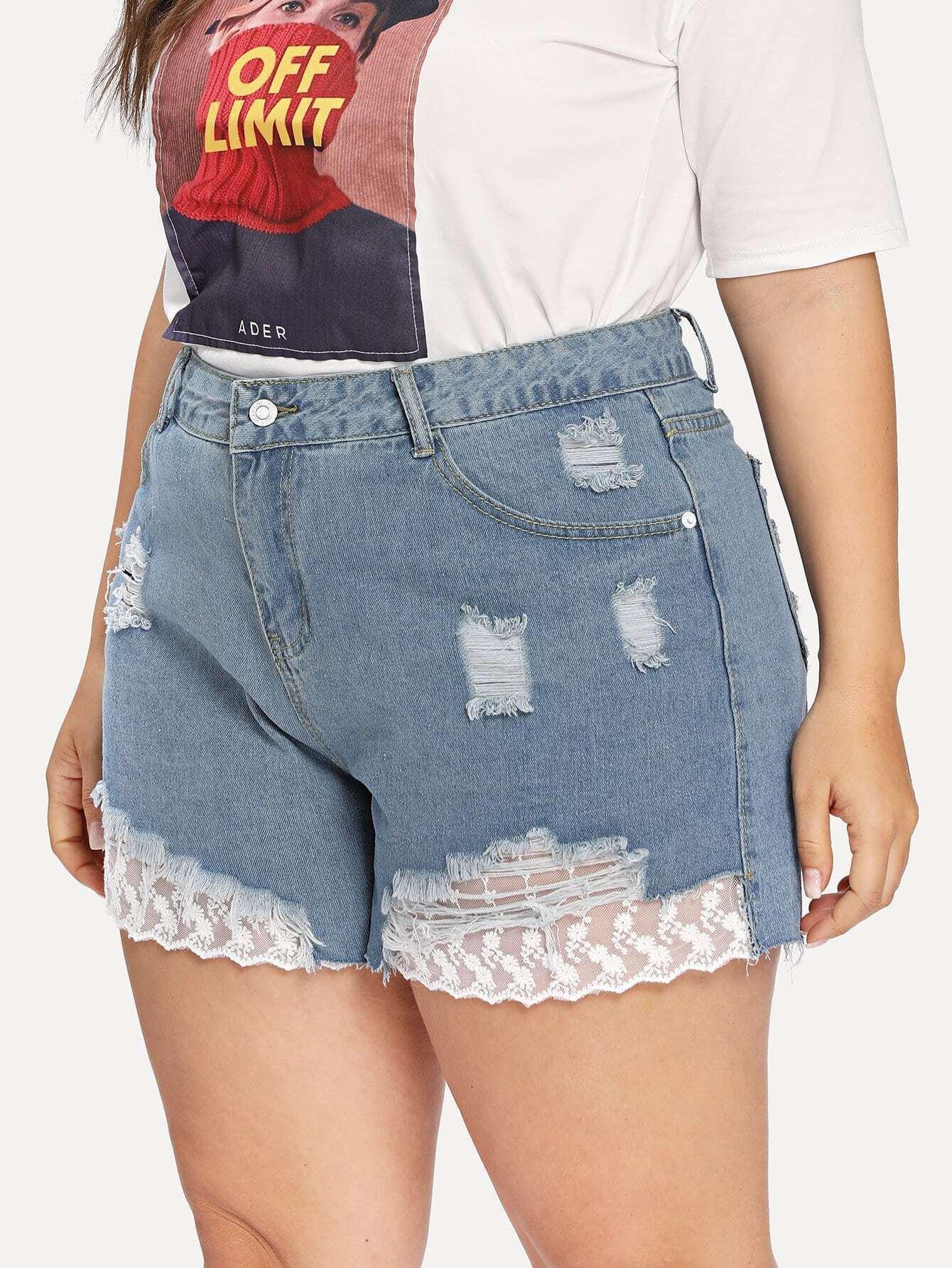 Embroidered Mesh Insert Distressed Denim Shorts distressed lace insert denim jeans