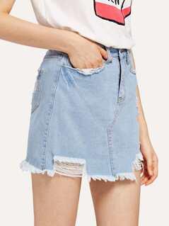5 Pocket Destroyed Denim Skirt