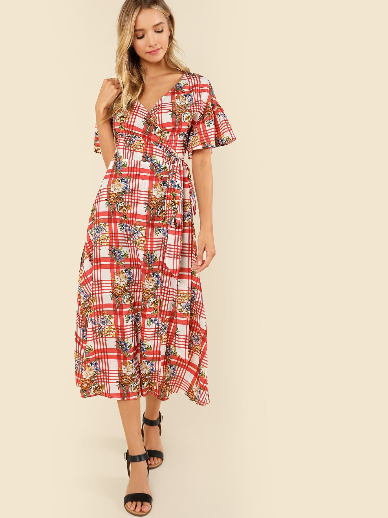 Mixed Print Belted Wrap Dress mixed print belted wrap jumpsuit