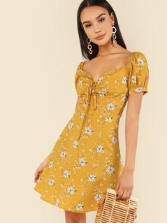Lace Insert Floral Bodice Dress