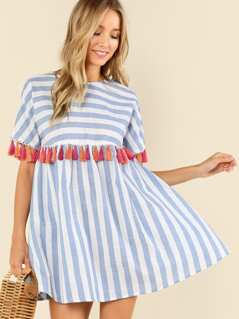 Tassel Embellished Stripe Smock Dress