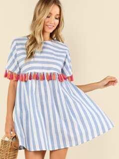 Tassel Embellished Stripe Smock Dress