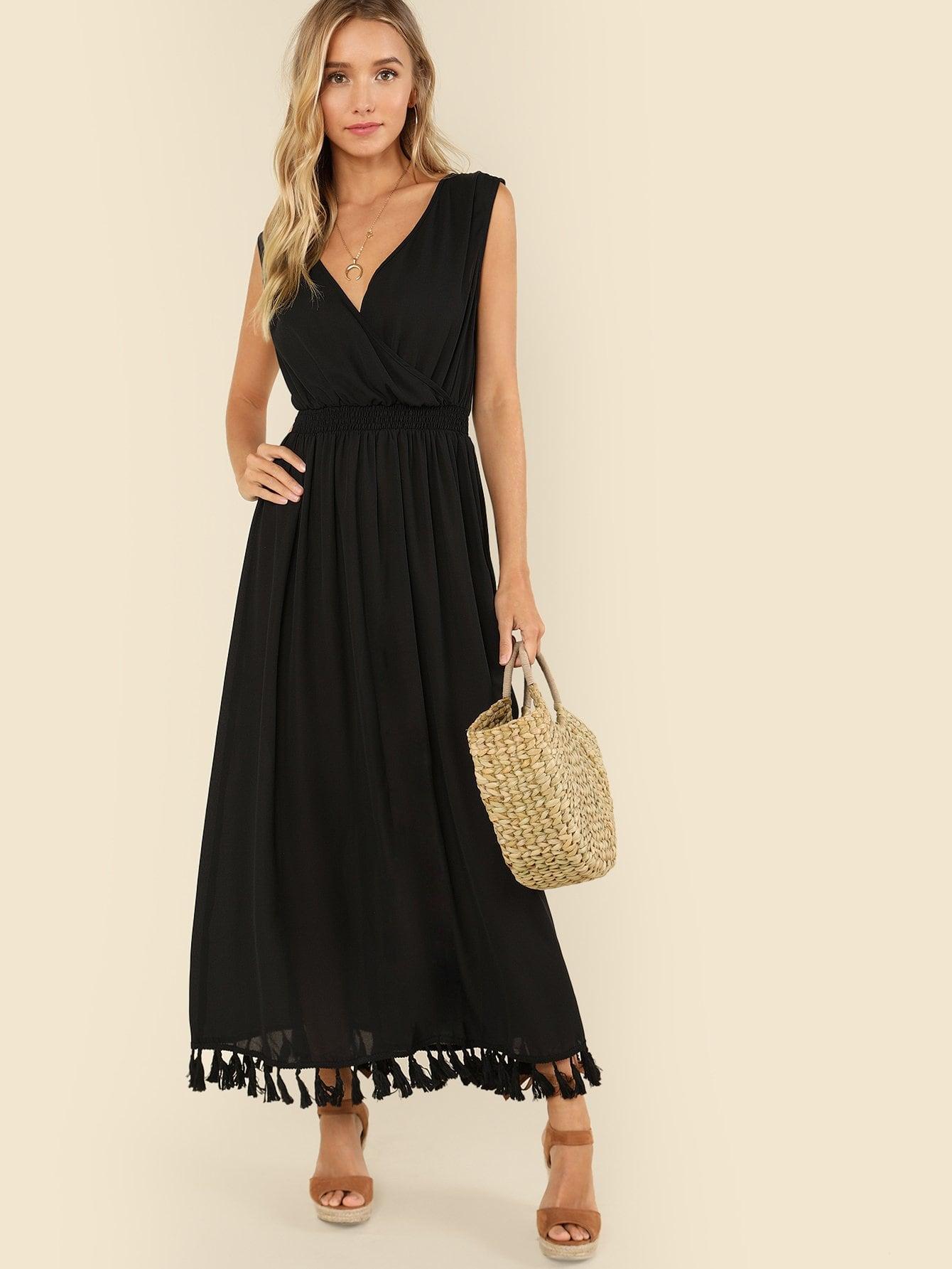 Tied Shoulder Tassel Hem Wrap Dress wrap front tied v back ruffle hem dress