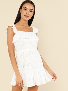 Eyelet Embroidery Ruffle Hem Dress