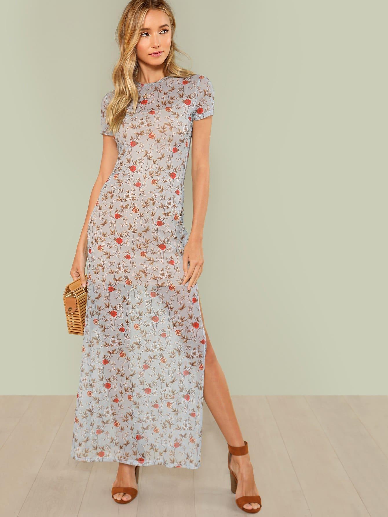 Split Side Floral Dress floral print split side dress