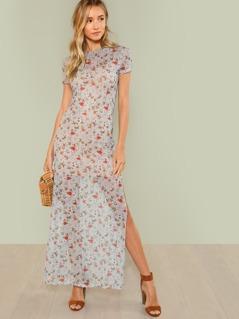 Split Side Floral Dress