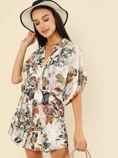 Botanical Print Self Belted Dress