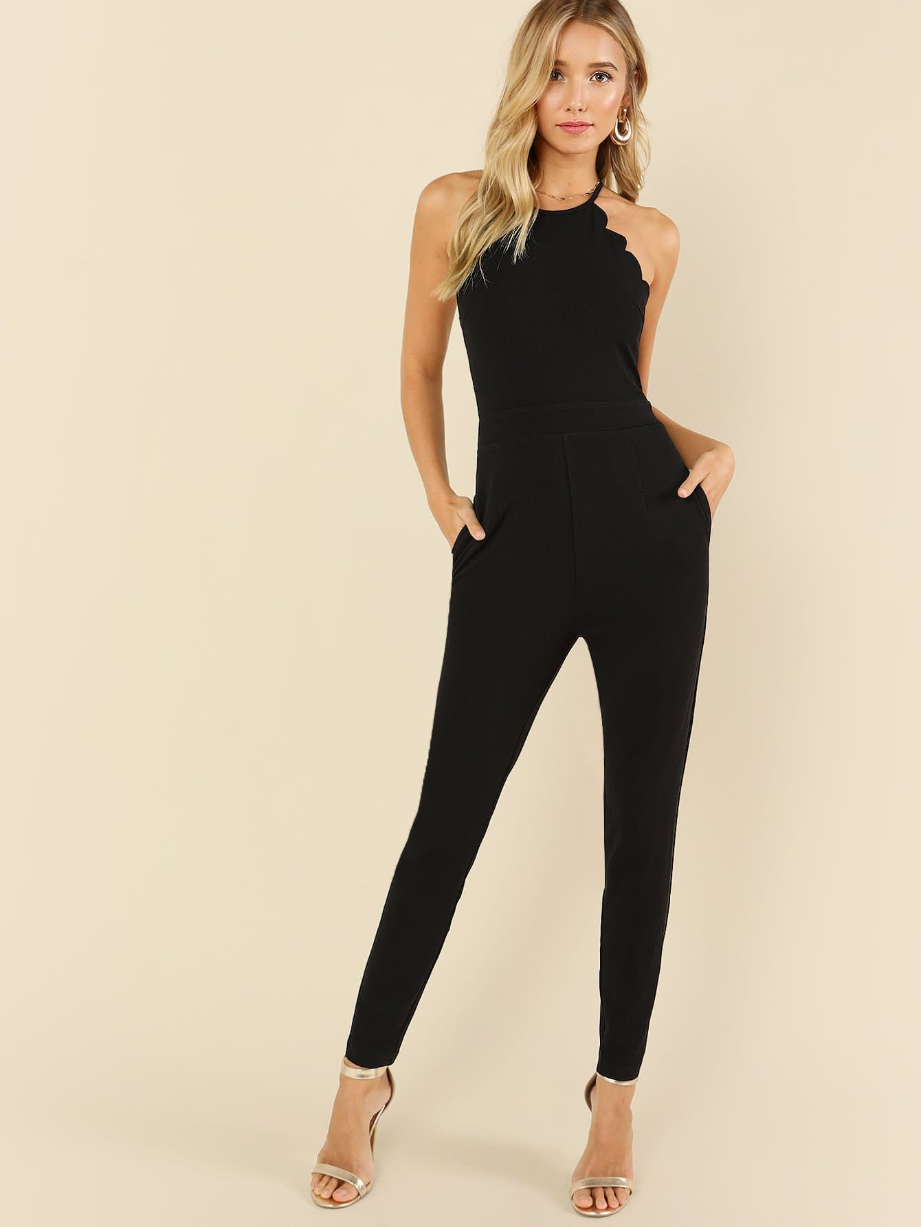 Scallop Edge Halter Tailored Jumpsuit scallop edge halter top