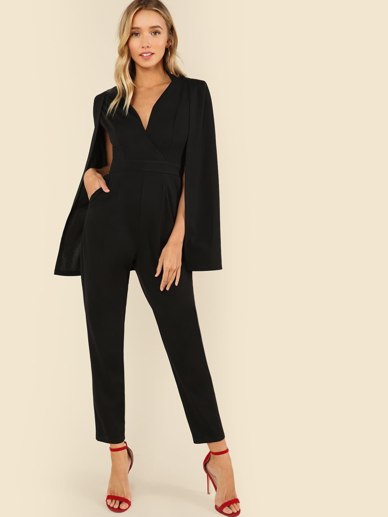 Plunging Neck Cloak Sleeve Solid Jumpsuit plunging neck long sleeve skirted jumpsuit