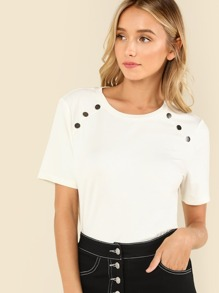 Button Detail Ribbed Knit Tee SHEIN