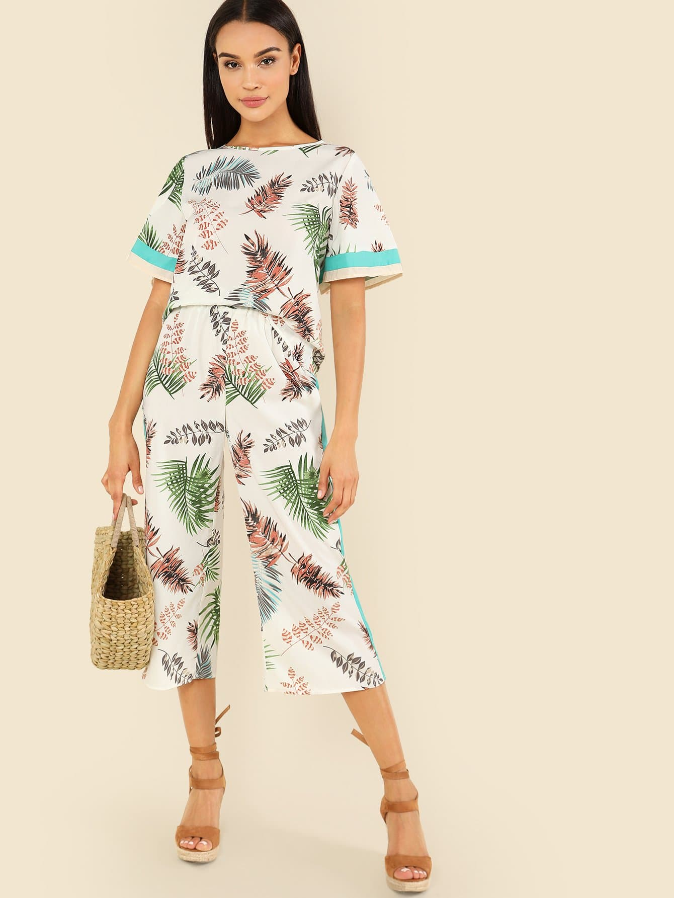 Contrast Tape Jungle Leaf Top & Wide Leg Pants Set купить недорого в Москве