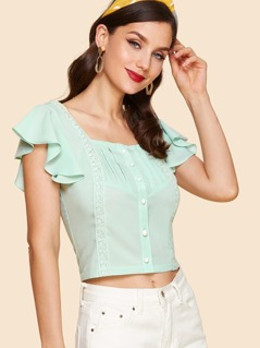 Lace Detail Butterfly Sleeve Button Up Blouse