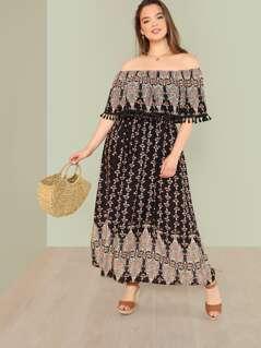 Plus Tribal Print Tassel Detail Bardot Dress