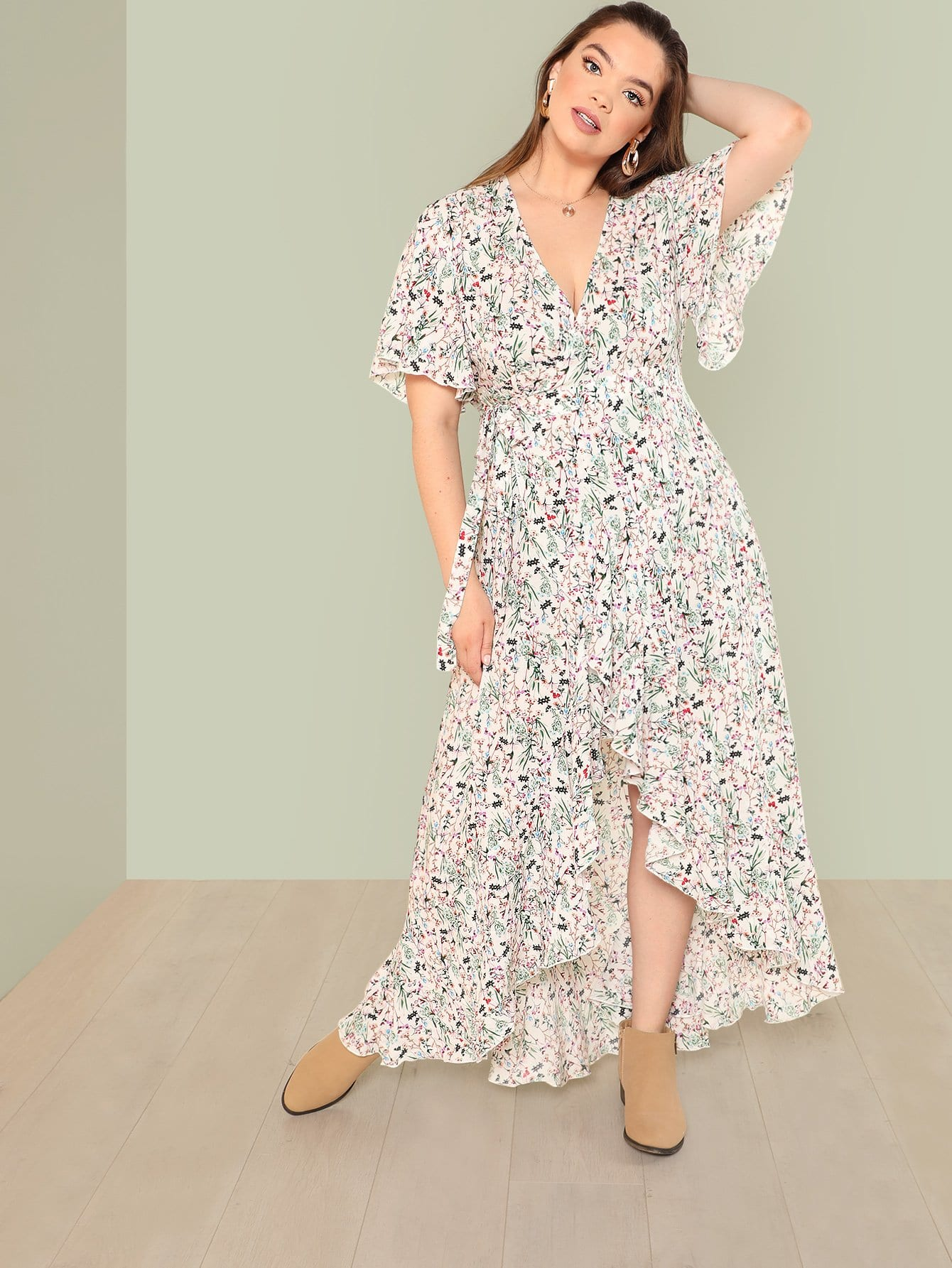 Puff Sleeve Floral Dress floral print puff sleeve fit