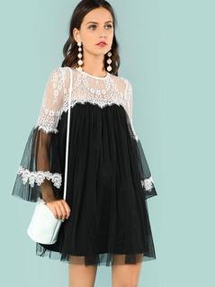 Lace Trim Keyhole Back Dress