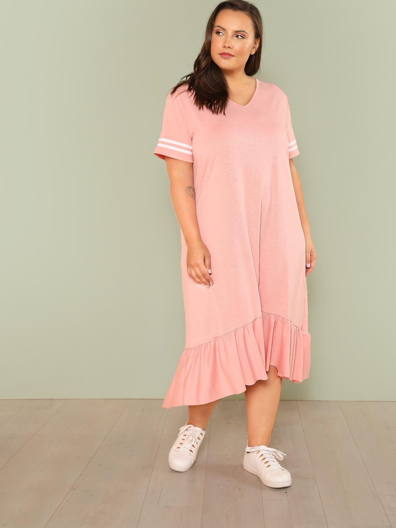 Plus Striped Sleeve Ruffle Dip Hem Dress ruffle strap and hem striped dress