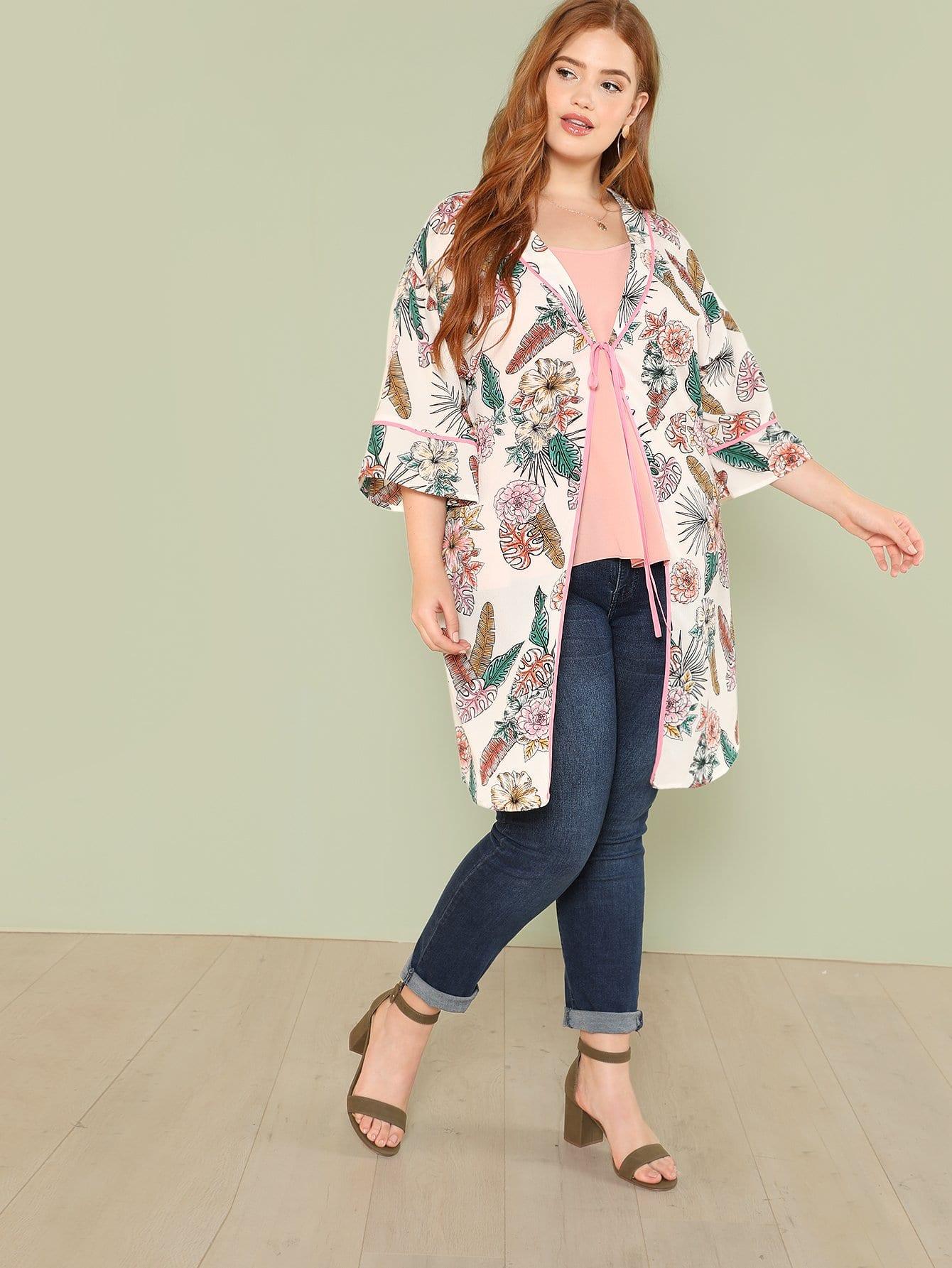 Купить Контрастное кимоно в цветочек, Bree Kish, SheIn