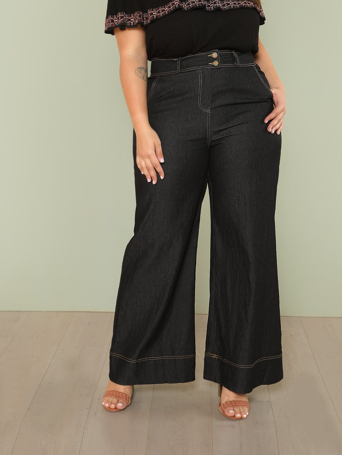 Pocket Patched Palazzo Leg Pants