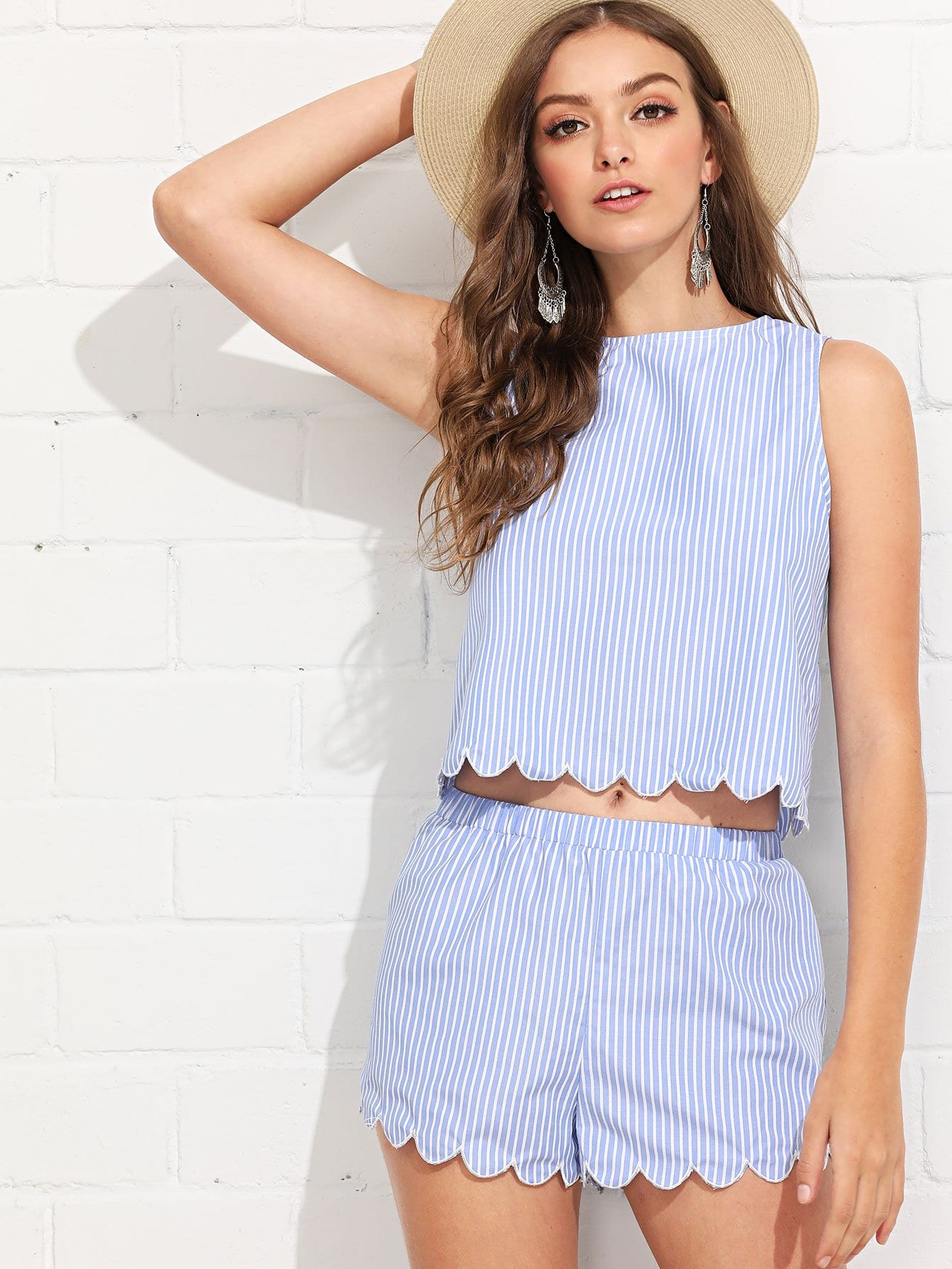 Scallop Trim Striped Top & Shorts Co-Ord scallop trim striped top