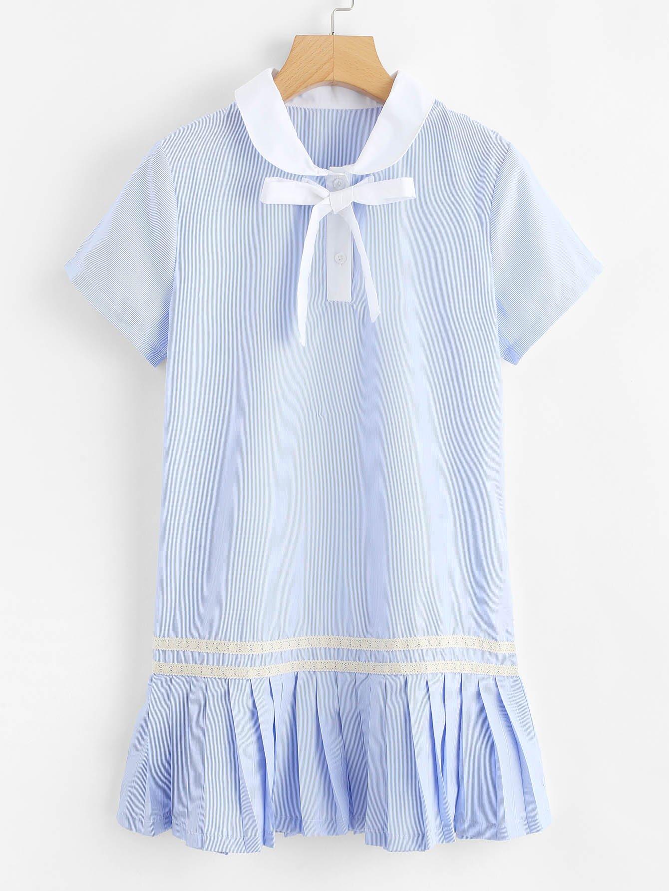 Lace Insert Tied Neck Flounce Hem Dress lace insert tassel tied floral dress