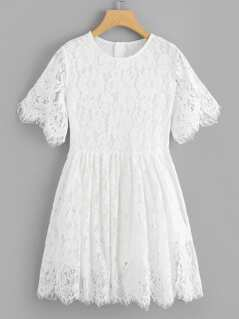 Fit & Flare Eyelash Lace Dress