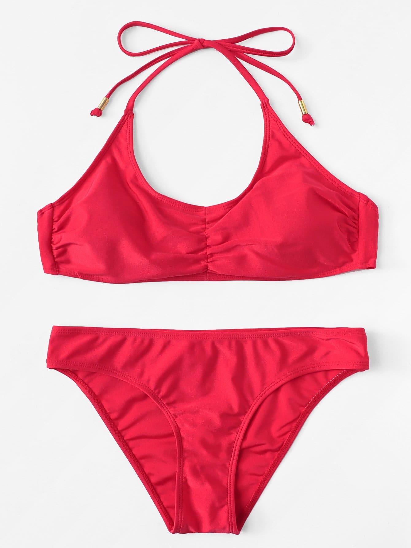 Ruched Detail Halterneck Bikini Set ruched detail halter bikini set