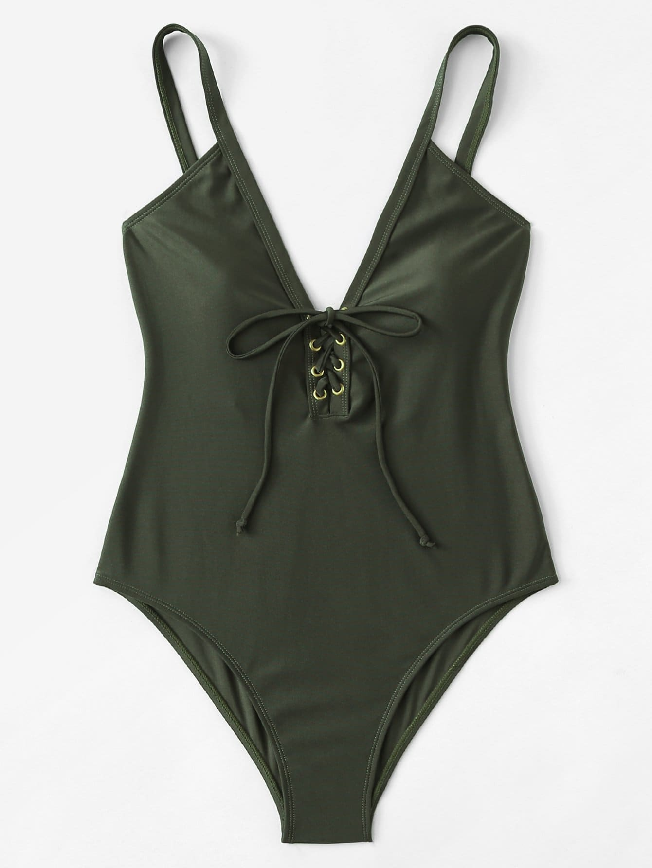 Eyelet Lace Up V-Neck Swimsuit устройство зарядное цифровое autoprofi агрессор agr sbc 150 start 9 фаз зарядки ток 2 6 10 15 а