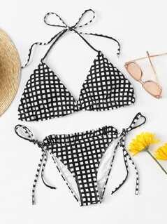 Frill Detail Grid Halterneck Bikini Set