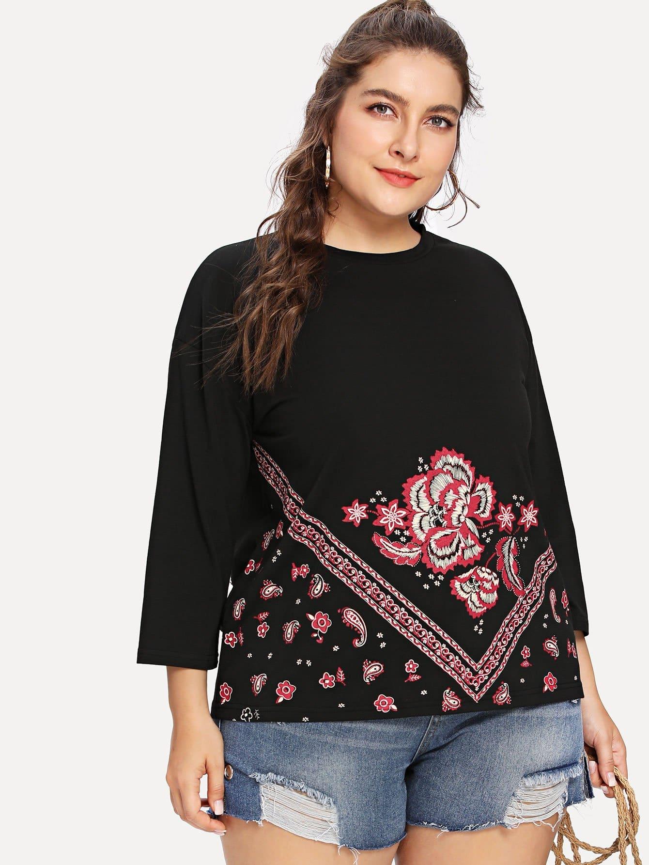 Flower Print T-shirt redfox футболка flower t 42 4300 желтый