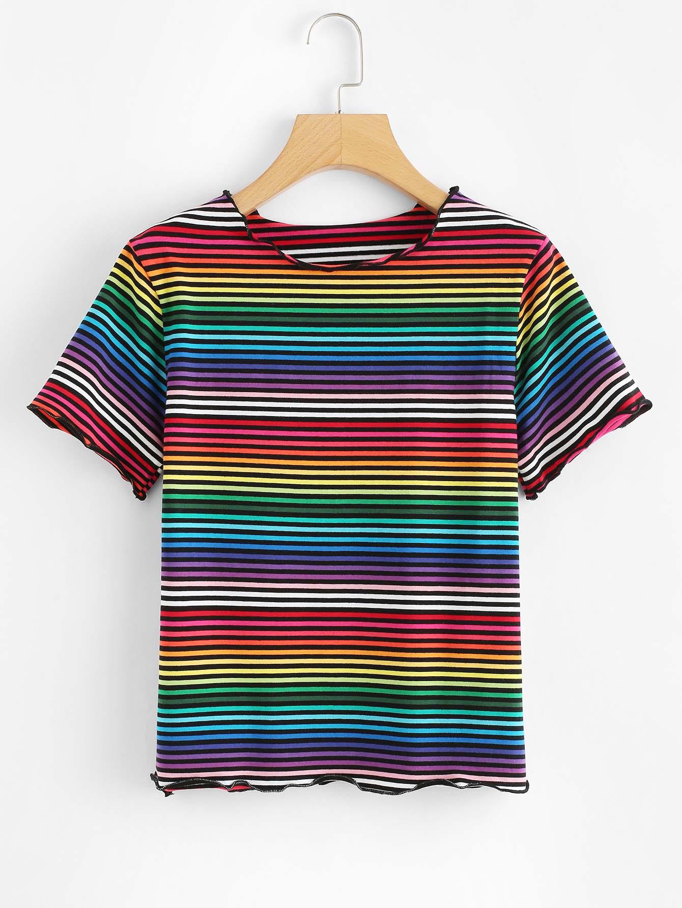 Rainbow Striped Short Sleeve T-shirt short sleeve rainbow stripe t shirt