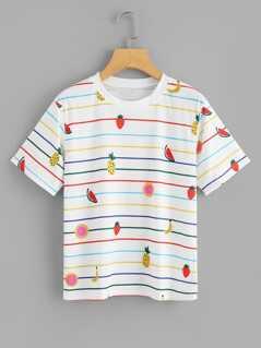 Fruit & Stripe Print T-shirt