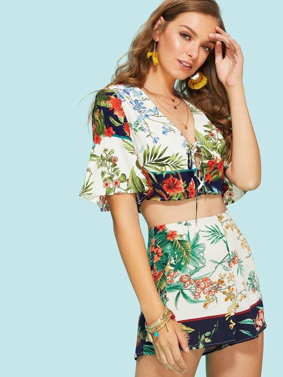 376679c048 Lace Up Crop Tropical Top & Shorts Set | MakeMeChic.COM