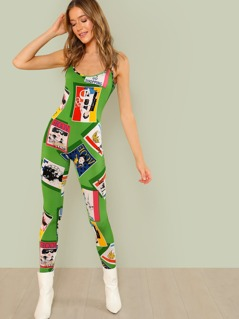 Magazine Graphic Print Jumpsuit