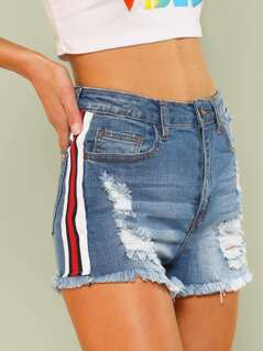 Distressed Denim High Waist Shorts with Stripe Detail